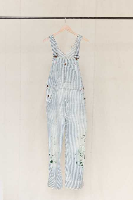 Vintage Big Mac Painted Railroad Stripe Denim Overall