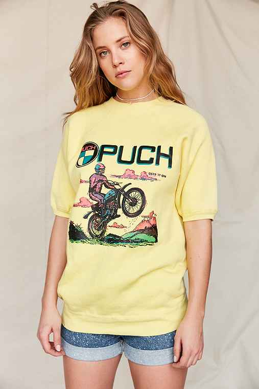 Vintage Puch Racing Short Sleeve Sweatshirt,ASSORTED,ONE SIZE
