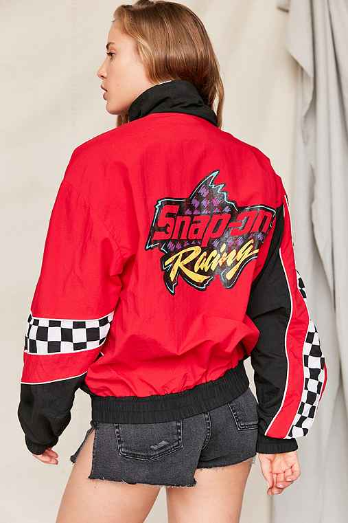 Vintage Snap-On Racing Checkered Windbreaker Jacket,ASSORTED,ONE SIZE