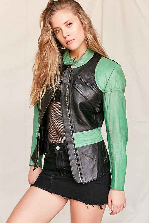 Vintage Colorblock Leather Moto Jacket,ASSORTED,ONE SIZE