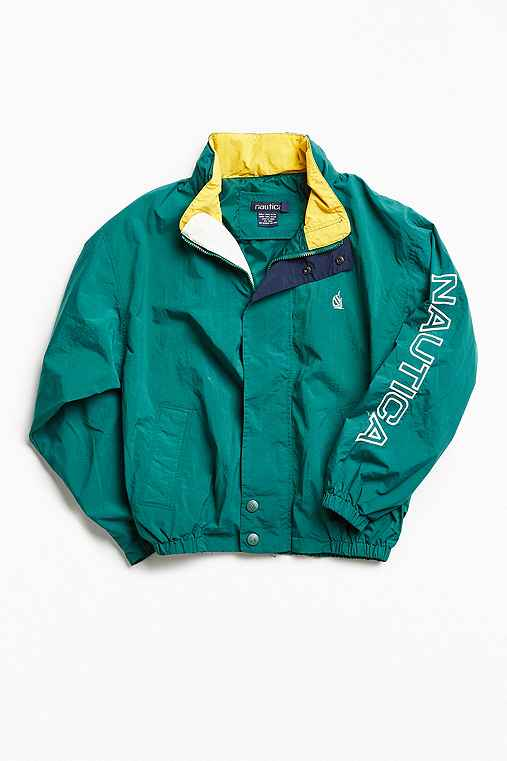 Vintage Nautica Kelly Green '90s Prep Sport Windbreaker Jacket,GREEN,ONE SIZE