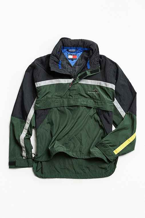 Vintage Tommy Hilfiger Green Reflective '90s Prep Sport Windbreaker Jacket,DARK GREEN,ONE SIZE