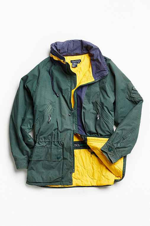 Vintage Nautica Green + Yellow '90s Prep Sport Windbreaker Jacket,GREEN MULTI,ONE SIZE