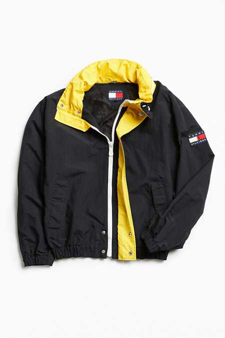 Vintage Tommy Hilfiger Black + Yellow '90s Prep Sport Windbreaker Jacket