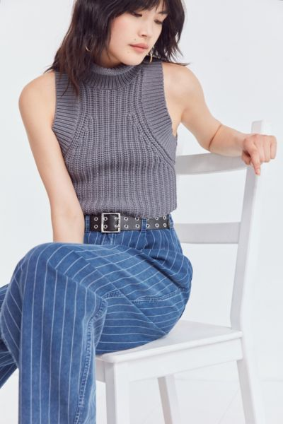 Silence + Noise Chainette Cropped Turtleneck Tank Top