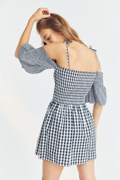 Vetiver Brigette Cold-Shoulder Gingham Dress