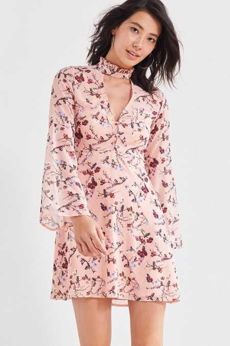 Oh My Love Autumn Ruffle-Neck Cutout Dress