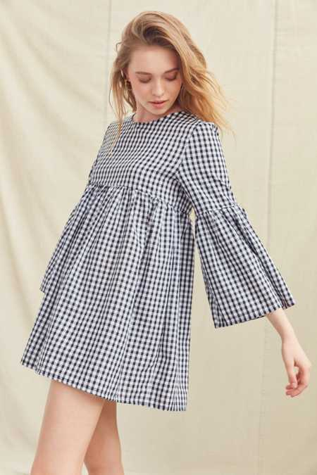 Urban Renewal Remade Bell-Sleeve Gingham Dress