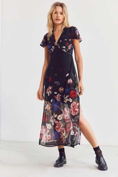 Kimchi Blue Sheer Floral Print Midi Dress