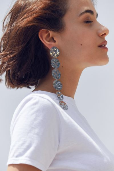 Ari Hammered Disc Drop Earring