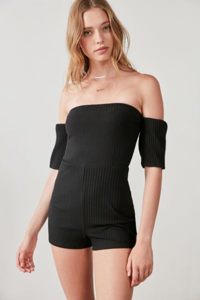 Silence + Noise Off-The-Shoulder Ribbed Knit Romper
