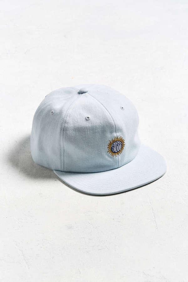 80033cd5d7d Stussy Sunburst Light Wash Denim Baseball Hat Urban Outfitters ...