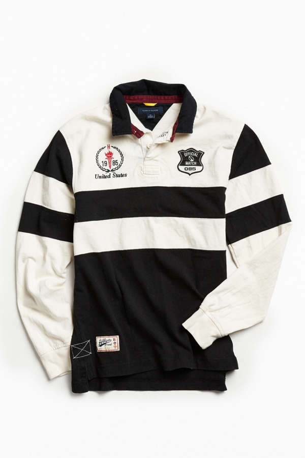 662fa4f0b07b21 Vintage Tommy Hilfiger Black + White Stripe Rugby Shirt | Urban Outfitters.  Urbanoutfitters 2 years ago