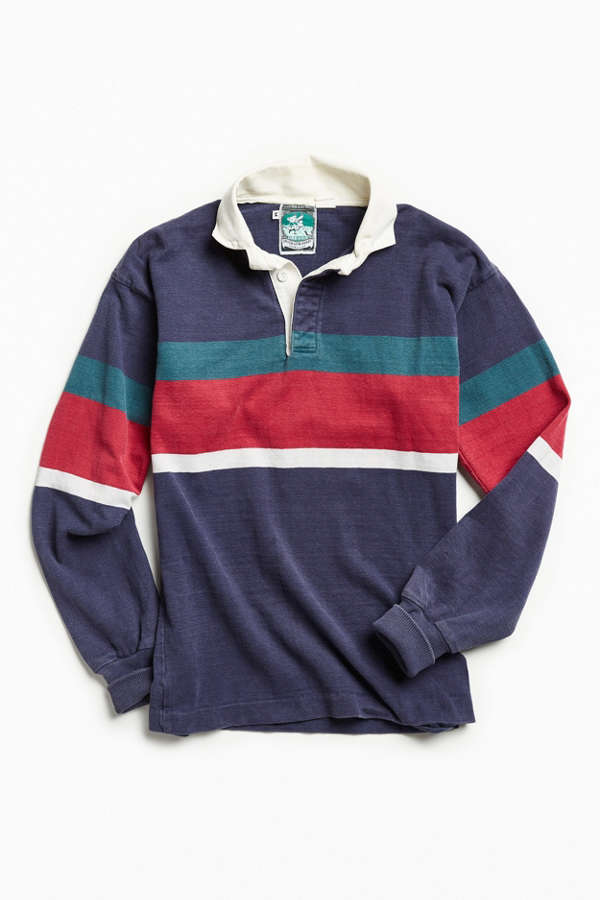 4d777087efe Vintage McIntosh & Seymour Navy Multi Stripe Rugby Shirt | Urban Outfitters