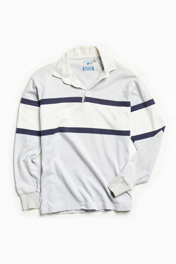 af4cdbe1a39 Vintage Lands End Grey Multi Stripe Rugby Shirt Urban Outfitters ...