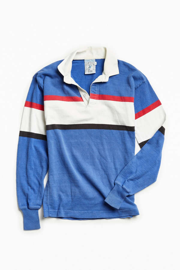 8ba5e07bf64 Urbanoutfitters · Vintage Lands' End Periwinkle Multi Stripe Rugby Shirt ...