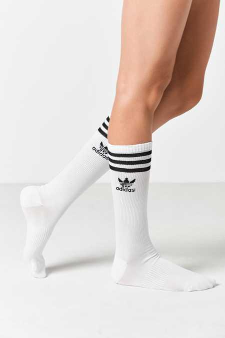 adidas Originals White Knee High Single Roller Sock