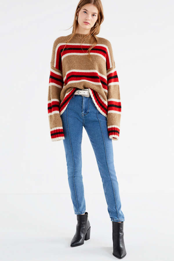 9ed4021fbde Lazy Oaf Roll Neck Knitted Sweater In Rainbow Stripe