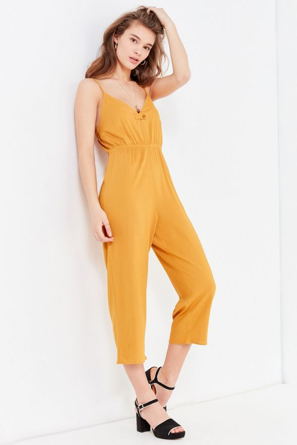 ad03bf53eb6 Uo Buttontab Vneck Jumpsuit Urban Outfitters