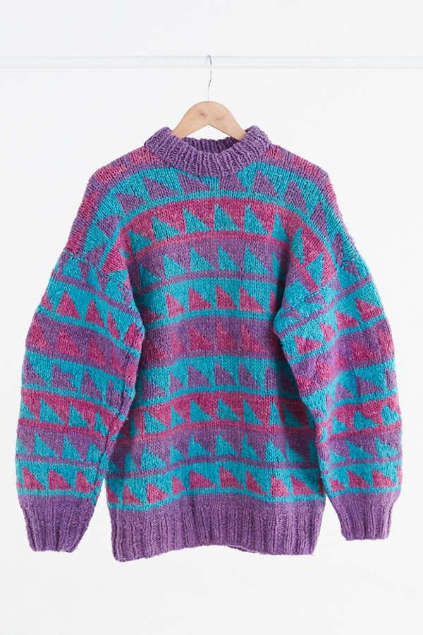 Vintage Purple + Teal Fair Isle Ski Sweater | Urban Outfitters