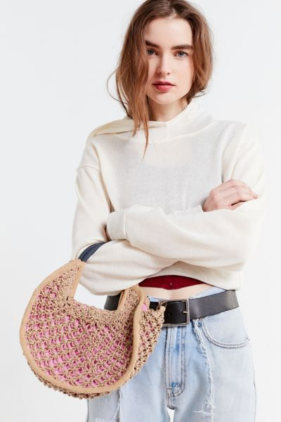 Small Circle Straw Tote Bag