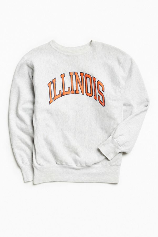 1e7e8726 Urbanoutfitters · Vintage Champion Illinois Heather Grey Crew Neck  Sweatshirt ...