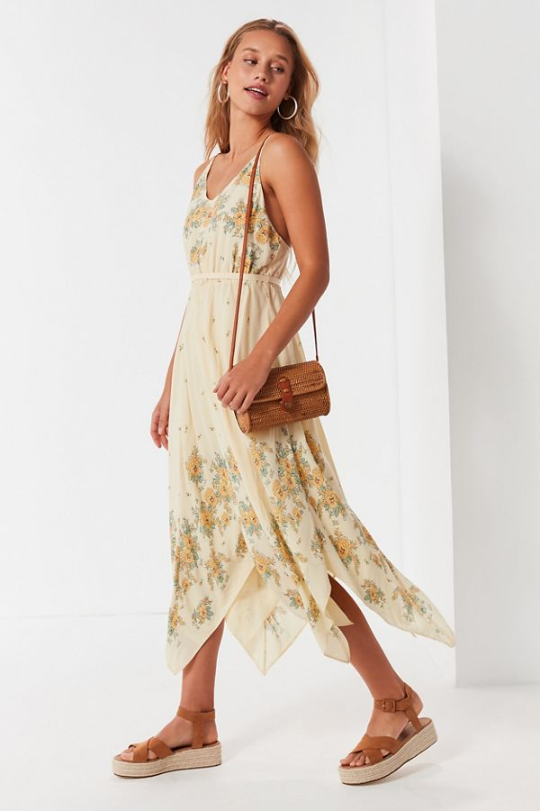edcf288bc6 Uo Floral Handkerchief Midi Dress Urban Outfitters | 2019 trends ...