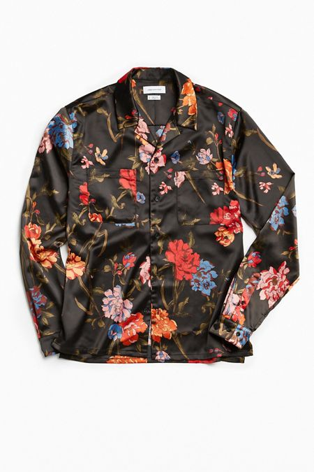 UO Floral Satin Button-Down Shirt
