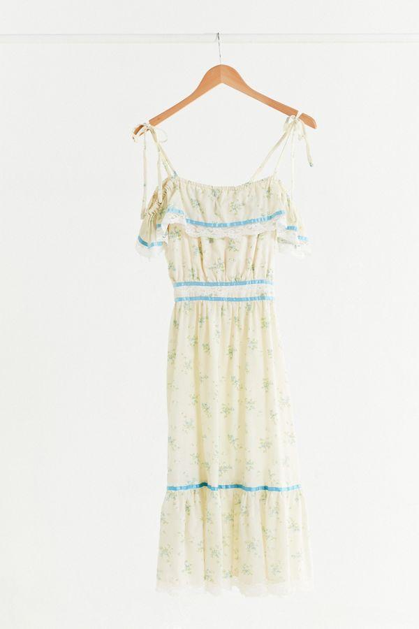Vintage Gunne Sax Floral Tie Sleeve Midi Dress | Urban Outfitters