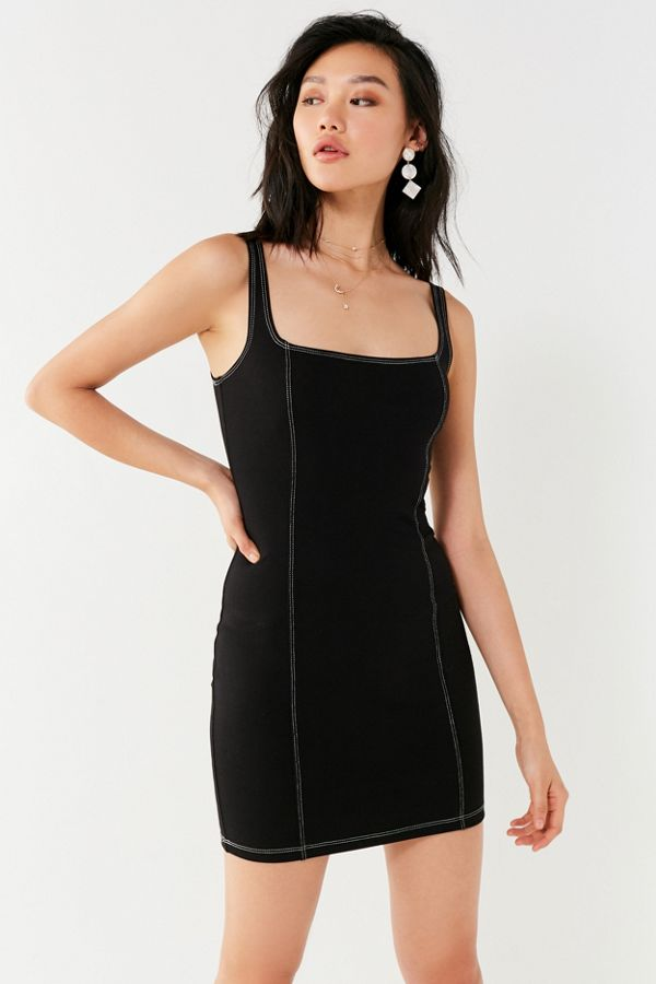 UO Contrast Stitch Ponte Bodycon Dress | Urban Outfitters