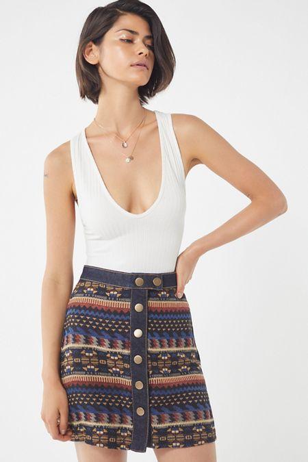 UO Timber Creek Button-Down Mini Skirt