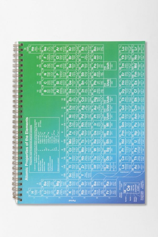 Periodic Table Spiral Notebook Urban Outfitters