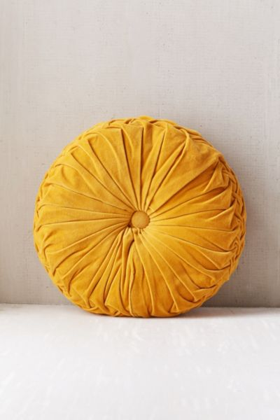 Round Pintuck Pillow - Dark Yellow One Size at Urban Outfitters