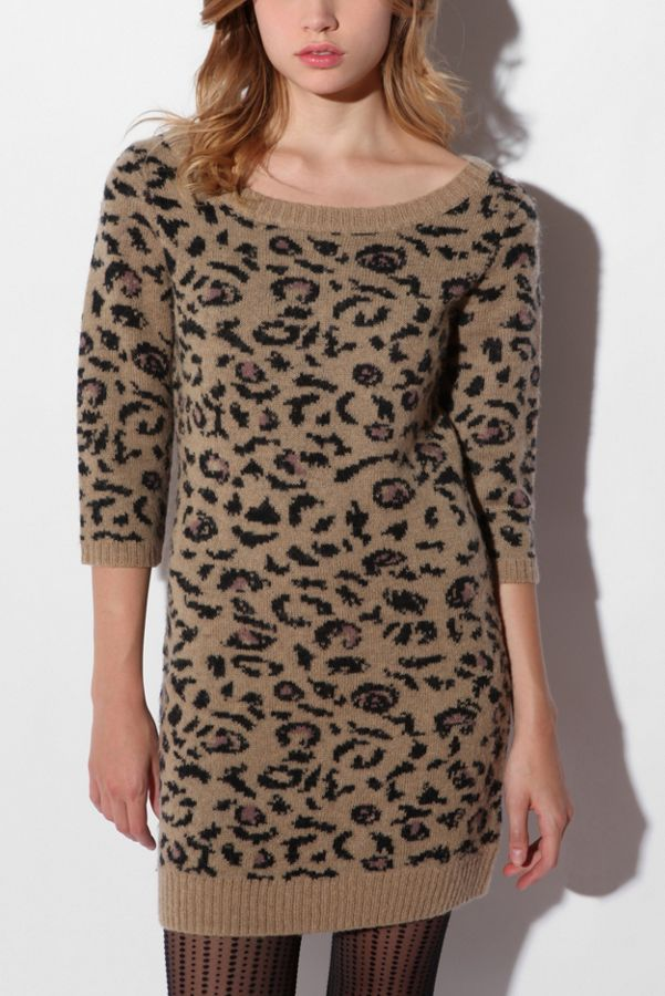 636651f001 Ecote Animal Print Sweater Dress