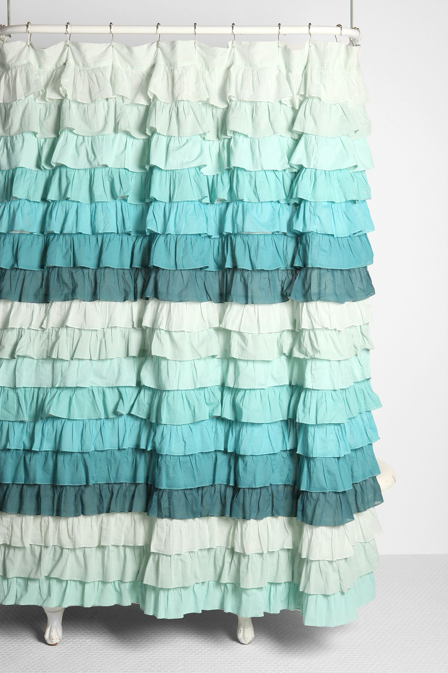 Tonal Wave Ruffle Shower Curtain