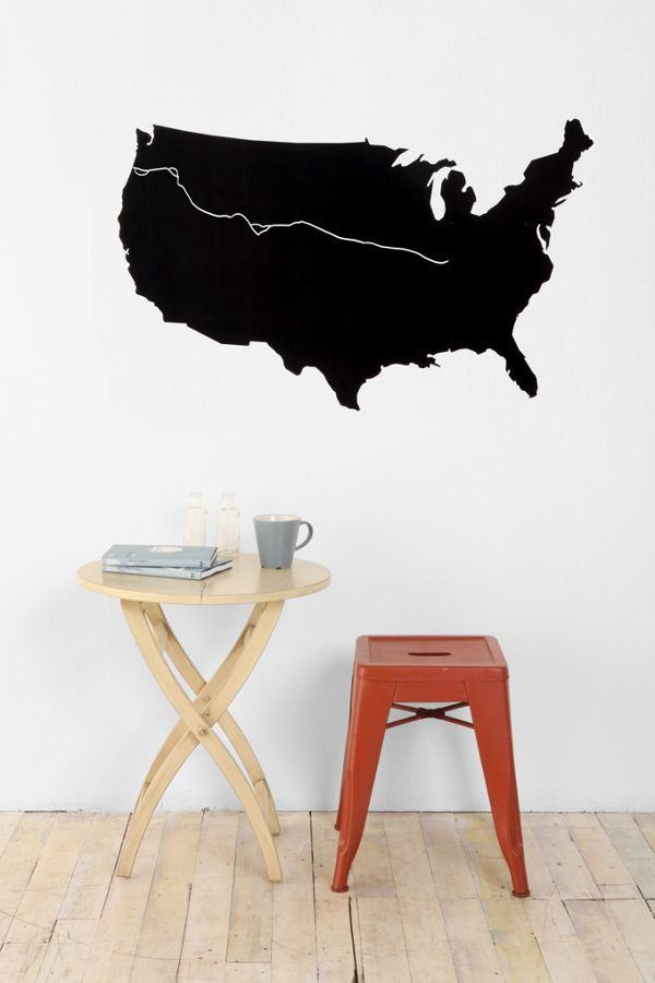 Usa Map Chalkboard Wall Decal Urban Outfitters Canada