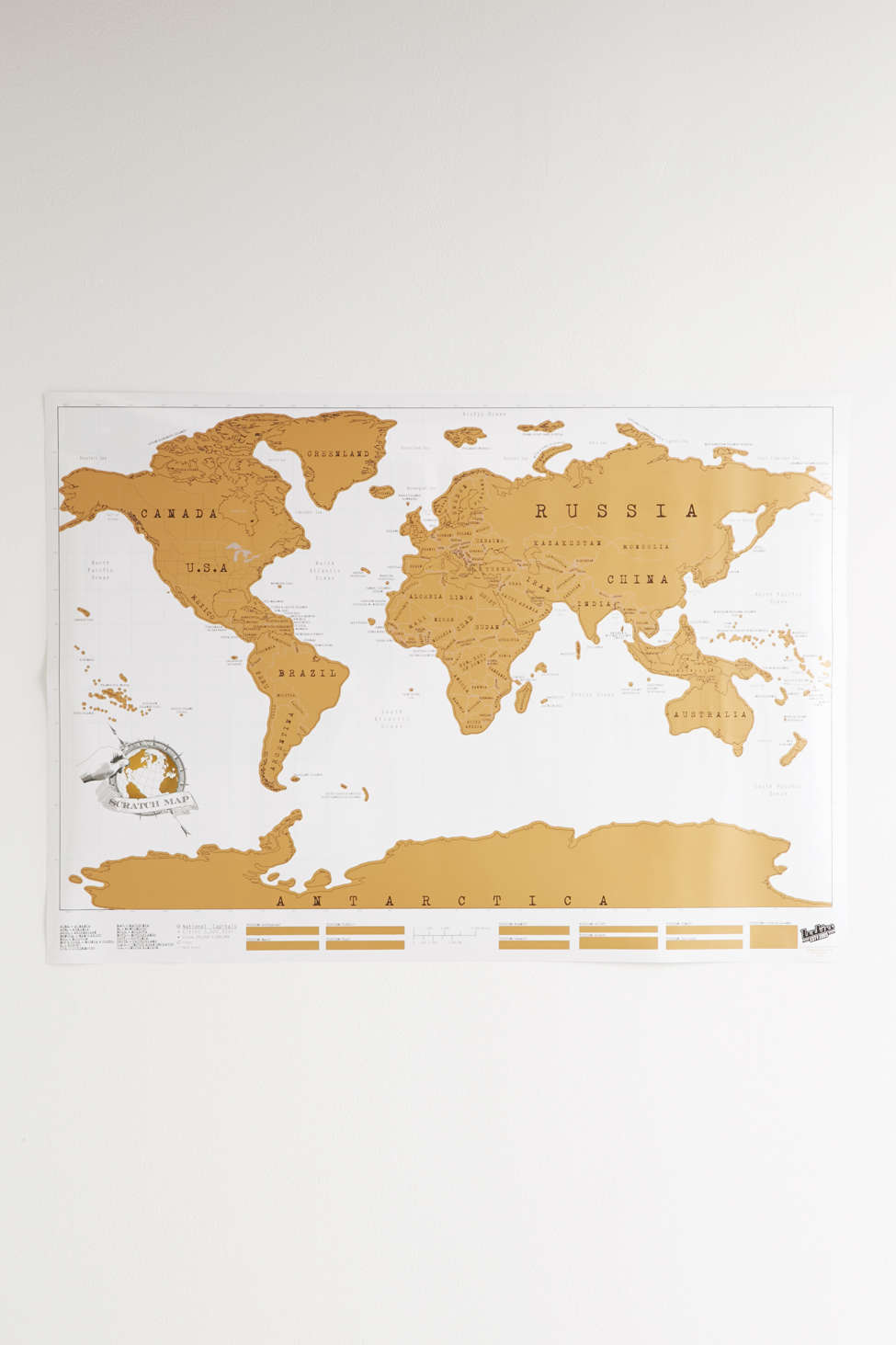 Gold Scratch f World Map