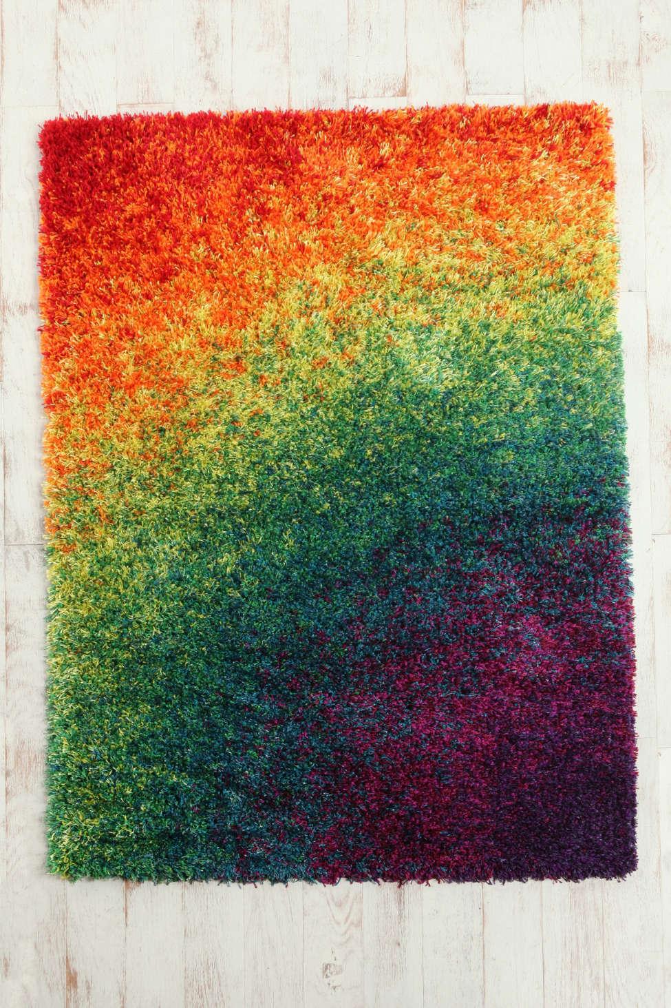 rainbow shag rug | urban outfitters