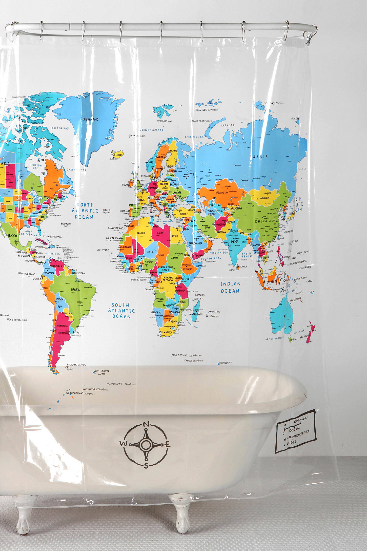 World Map Shower Curtain   Urban Outfitters