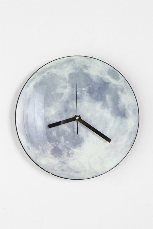 Glow In The Dark Moon Wall Clock Urban Outfitters