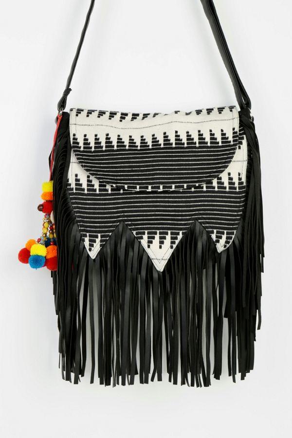 Ecote Tapestry Fringe Hobo Bag