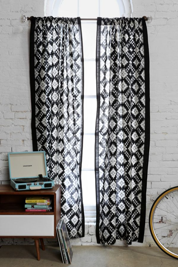 Magical Thinking Black White Ikat Curtain