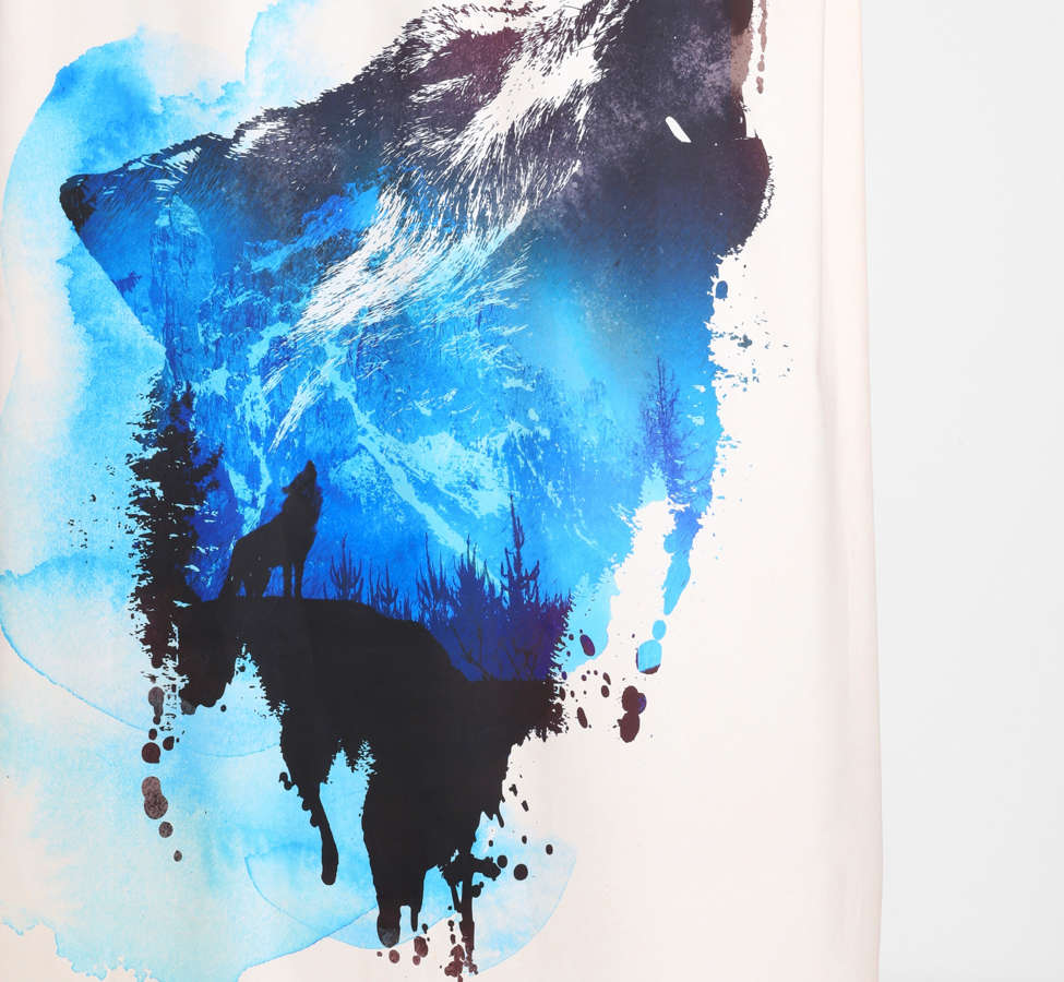 Slide View: 1: Robert Farkas For DENY Alone As A Wolf Shower Curtain