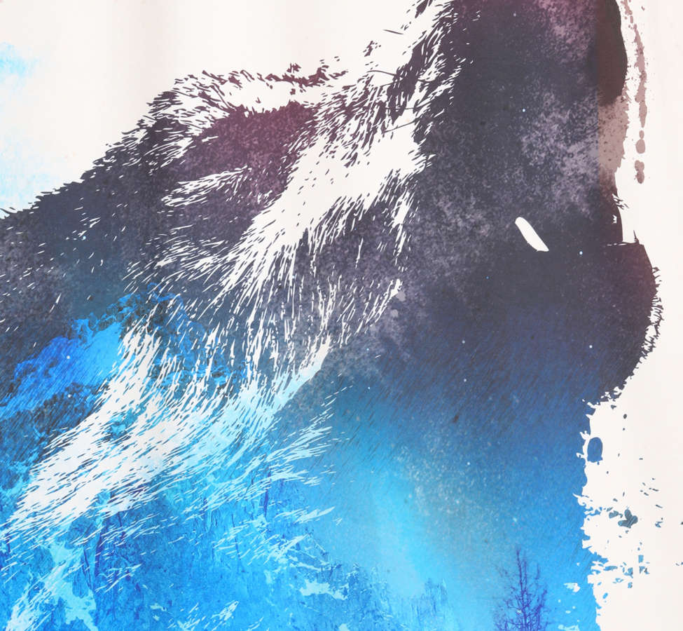 Slide View: 2: Robert Farkas For DENY Alone As A Wolf Shower Curtain