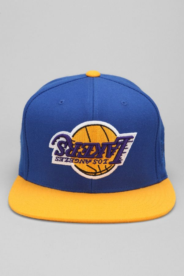 071ae488273da ... store hall of fame x mitchell ness lakers upside down snapback hat  13aa4 0f0e6