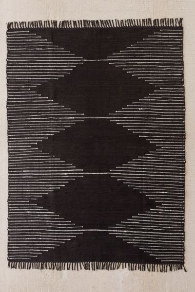 Connected Stripe Rag Rug - Black/White 2 X 3 at Urban Outfitters