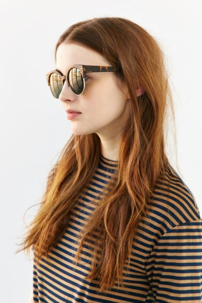 Festival Round Sunglasses - Chocolate One Size at Urban Outfitters