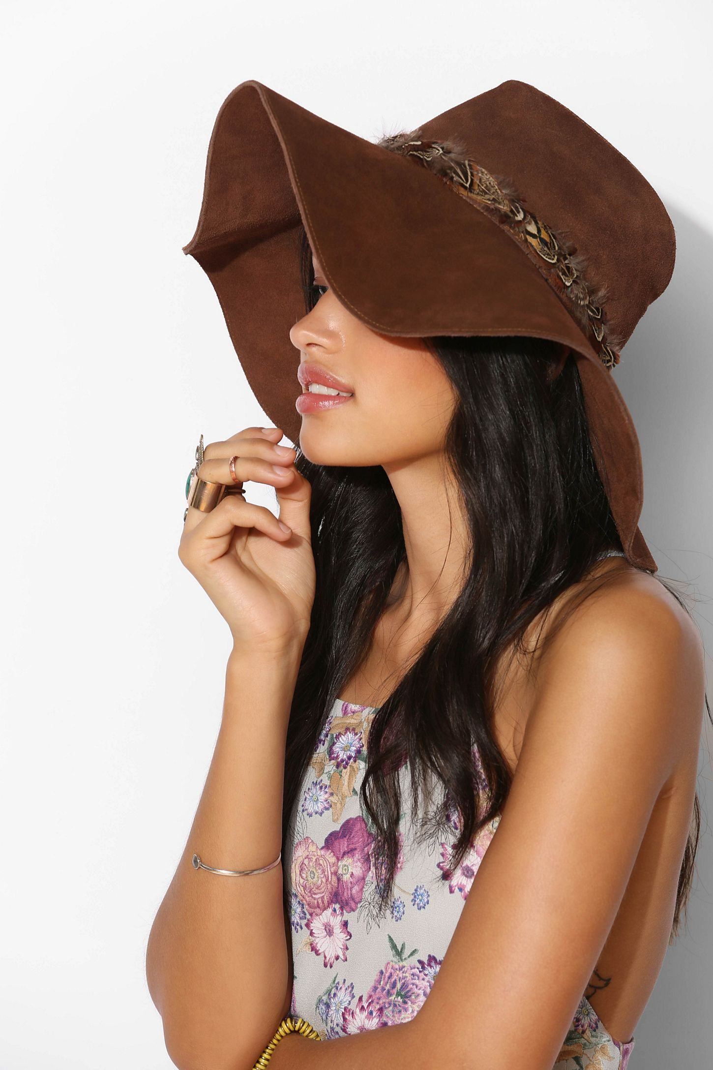 Floppy Wide-Brim Suede Panama Hat  2ad1b1c20c7