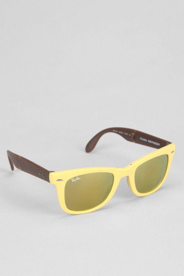 f3d30913b0a Ray-Ban Flash Gold Mirror Folding Wayfarer Sunglasses