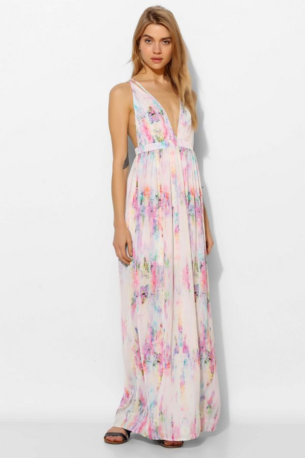 Oh My Love Strappy Plunge Maxi Dress Urban Outfitters